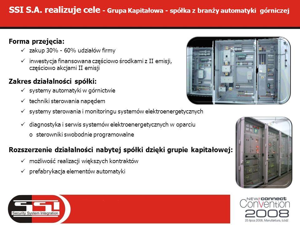 SSI S.A. realizuje cele - Grupa Kapitałowa - spółka z branży automatyki górniczej Forma przejęcia: zakup 30% - 60% udziałów firmy inwestycja finansowa