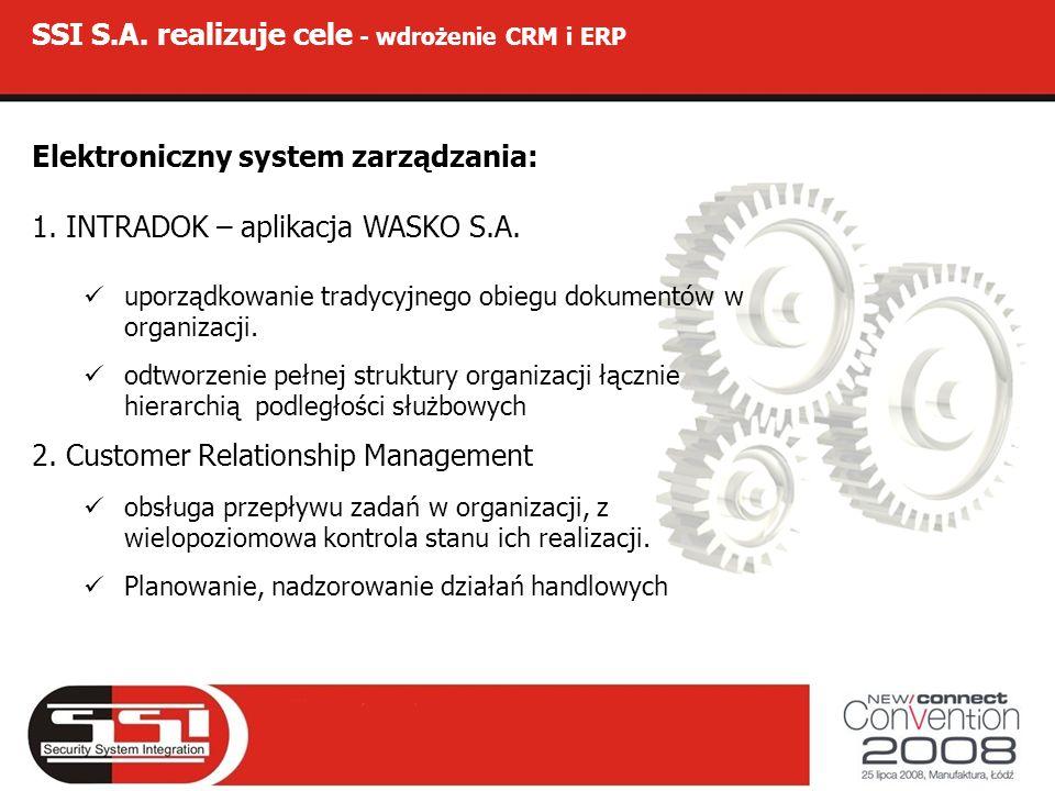 SSI S.A. realizuje cele - wdrożenie CRM i ERP Elektroniczny system zarządzania: 1. INTRADOK – aplikacja WASKO S.A. uporządkowanie tradycyjnego obiegu