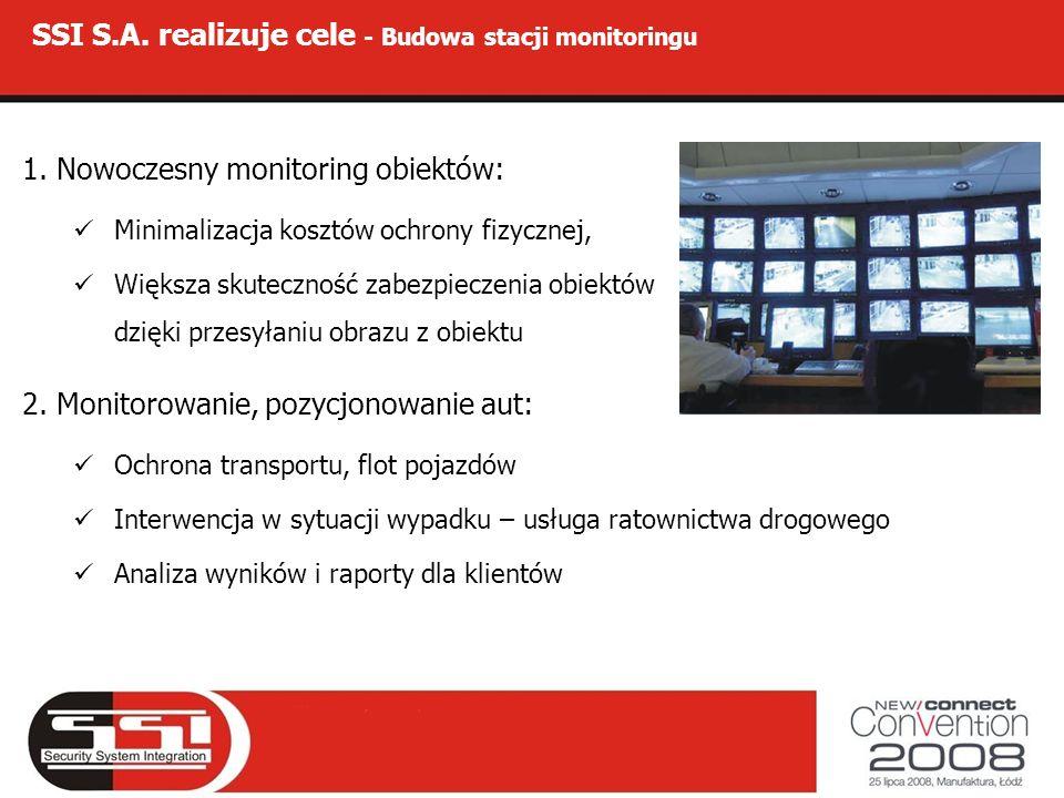 SSI S.A. realizuje cele - Budowa stacji monitoringu 1. Nowoczesny monitoring obiektów: Minimalizacja kosztów ochrony fizycznej, Większa skuteczność za