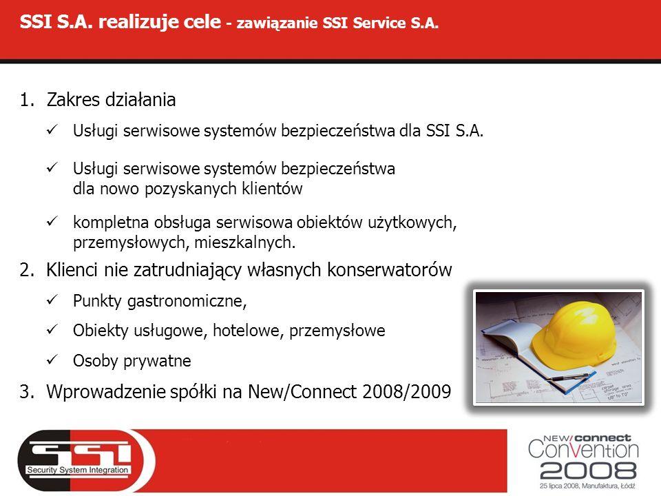 SSI S.A. realizuje cele - zawiązanie SSI Service S.A. 1.Zakres działania Usługi serwisowe systemów bezpieczeństwa dla SSI S.A. Usługi serwisowe system