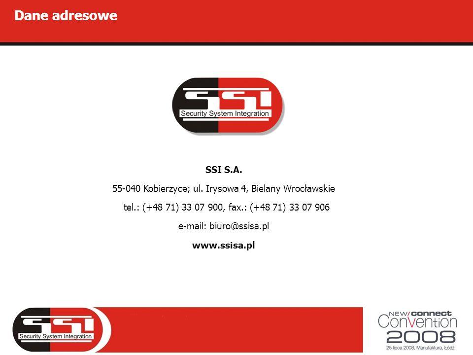 SSI S.A. 55-040 Kobierzyce; ul. Irysowa 4, Bielany Wrocławskie tel.: (+48 71) 33 07 900, fax.: (+48 71) 33 07 906 e-mail: biuro@ssisa.pl www.ssisa.pl