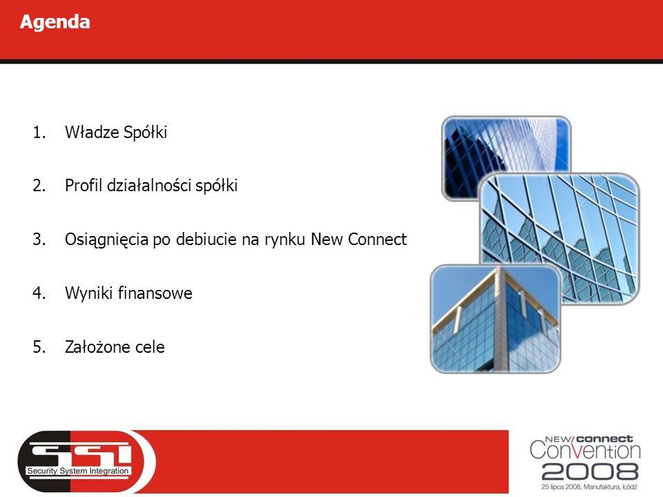 Agenda 1.Władze Spółki 2.Profil działalności spółki 3.Osiągnięcia po debiucie na rynku New Connect 4.Wyniki finansowe 5.Założone cele