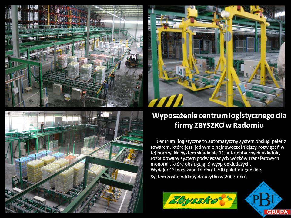 Wyposażenie centrum logistycznego dla firmy ZBYSZKO w Radomiu Centrum logistyczne to automatyczny system obsługi palet z towarem, które jest jednym z