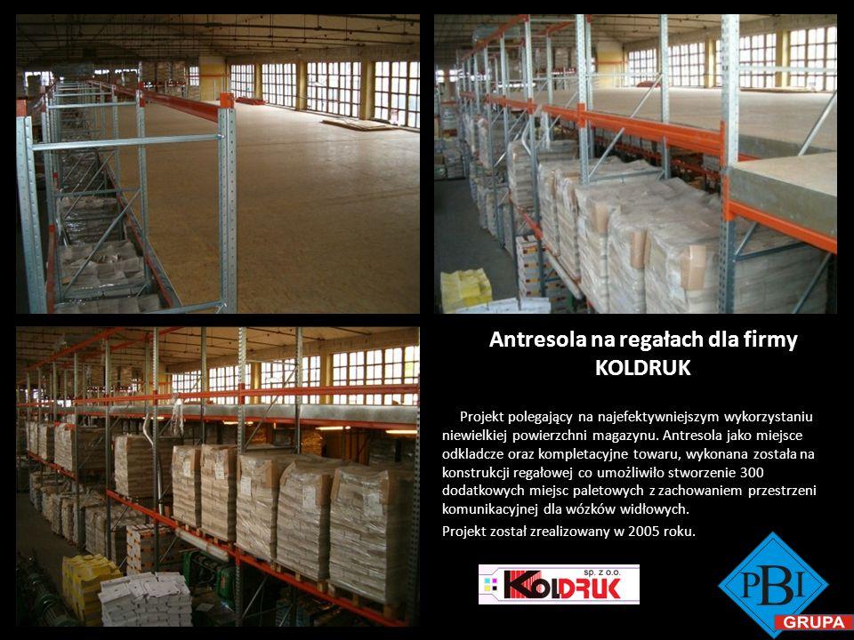 Antresola na regałach dla firmy KOLDRUK Projekt polegający na najefektywniejszym wykorzystaniu niewielkiej powierzchni magazynu. Antresola jako miejsc