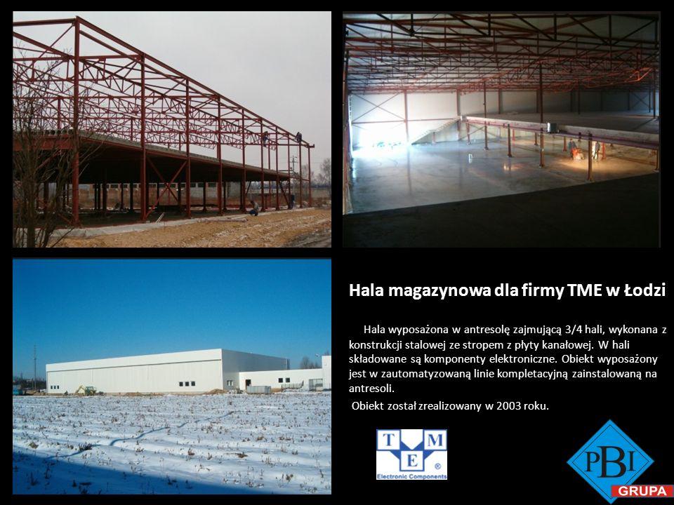 Hala magazynowa dla firmy TME w Łodzi Hala wyposażona w antresolę zajmującą 3/4 hali, wykonana z konstrukcji stalowej ze stropem z płyty kanałowej. W