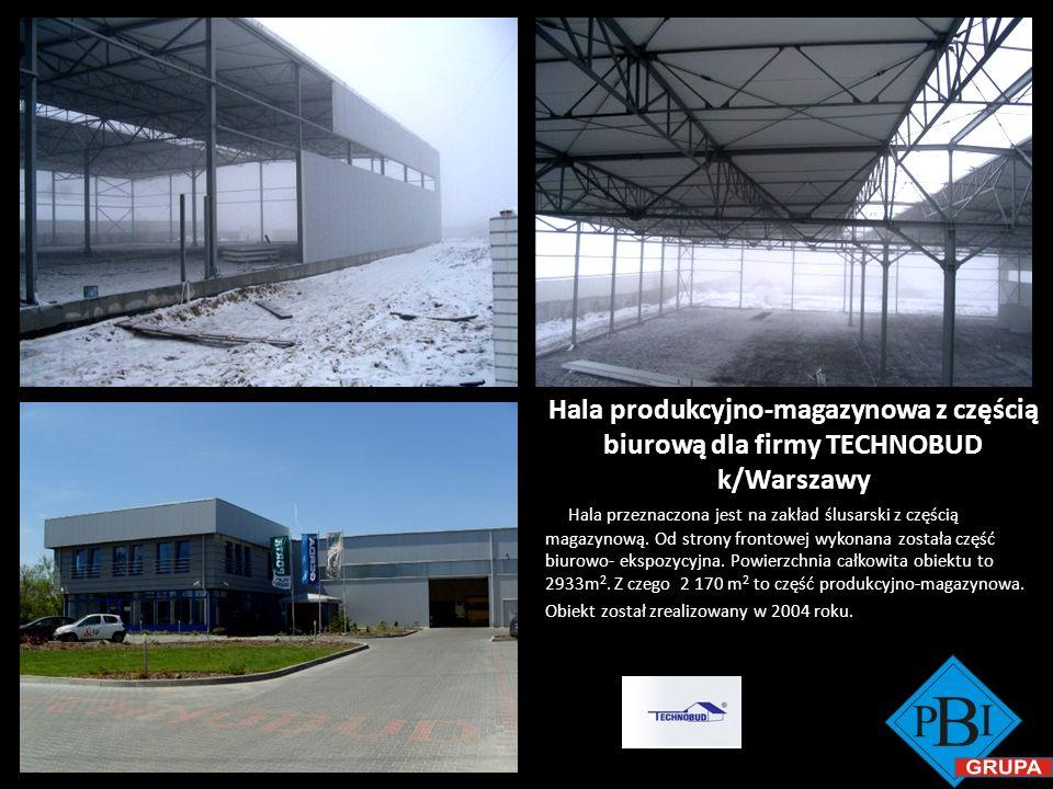 Hala produkcyjno-magazynowa z częścią biurową dla firmy TECHNOBUD k/Warszawy Hala przeznaczona jest na zakład ślusarski z częścią magazynową. Od stron