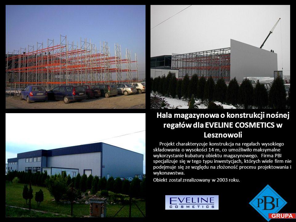 Hala magazynowa o konstrukcji nośnej regałów dla EVELINE COSMETICS w Lesznowoli Projekt charakteryzuje konstrukcja na regałach wysokiego składowania o
