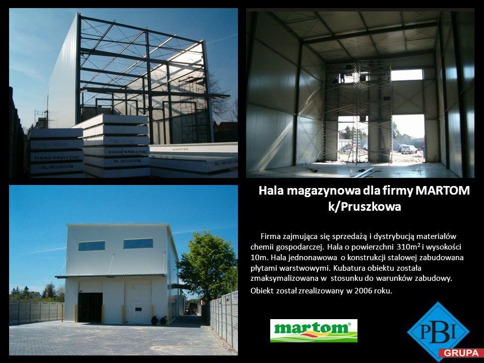 Hala magazynowa dla firmy MARTOM k/Pruszkowa Firma zajmująca się sprzedażą i dystrybucją materiałów chemii gospodarczej. Hala o powierzchni 310m 2 i w