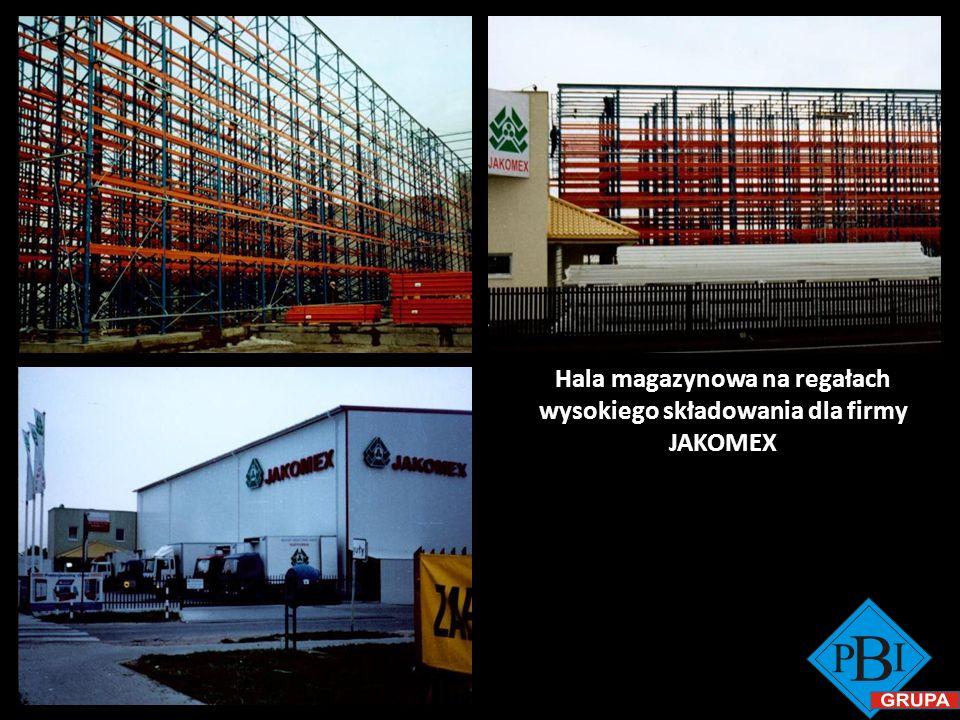 Hala magazynowa na regałach wysokiego składowania dla firmy JAKOMEX