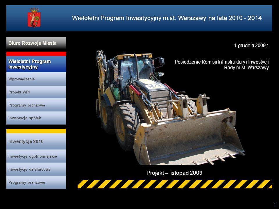 1 Projekt – listopad 2009 Wieloletni Program Inwestycyjny m.st. Warszawy na lata 2010 - 2014 Projekt WPI Programy branżowe Inwestycje spółek Inwestycj
