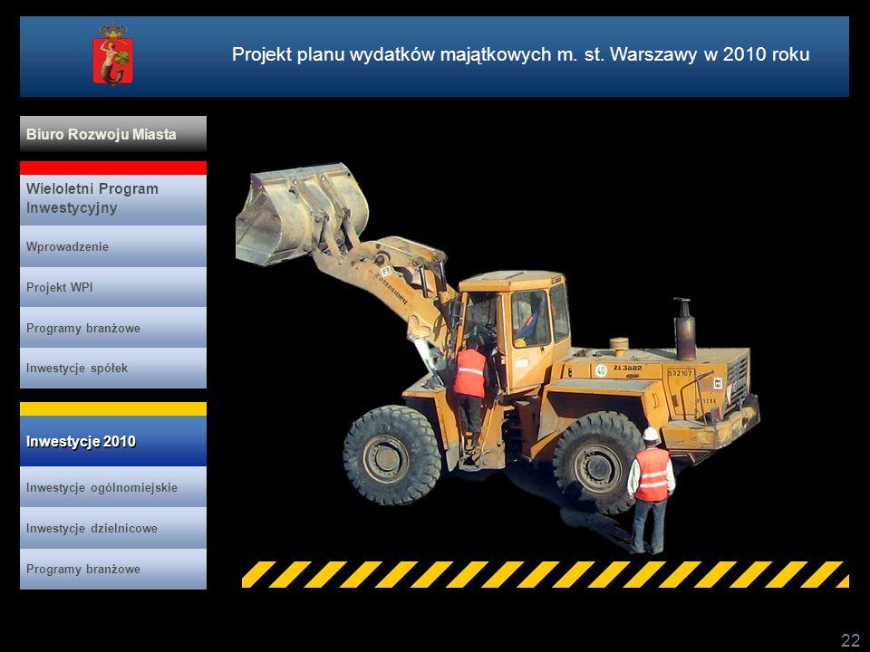22 Projekt planu wydatków majątkowych m. st. Warszawy w 2010 roku Projekt WPI Programy branżowe Inwestycje spółek Inwestycje 2010 Inwestycje 2010 Wiel
