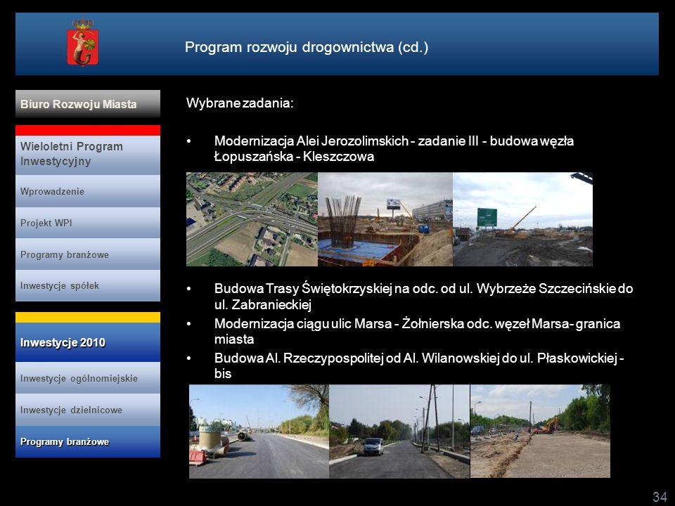Program rozwoju drogownictwa (cd.) 34 Wybrane zadania: Modernizacja Alei Jerozolimskich - zadanie III - budowa węzła Łopuszańska - Kleszczowa Budowa T