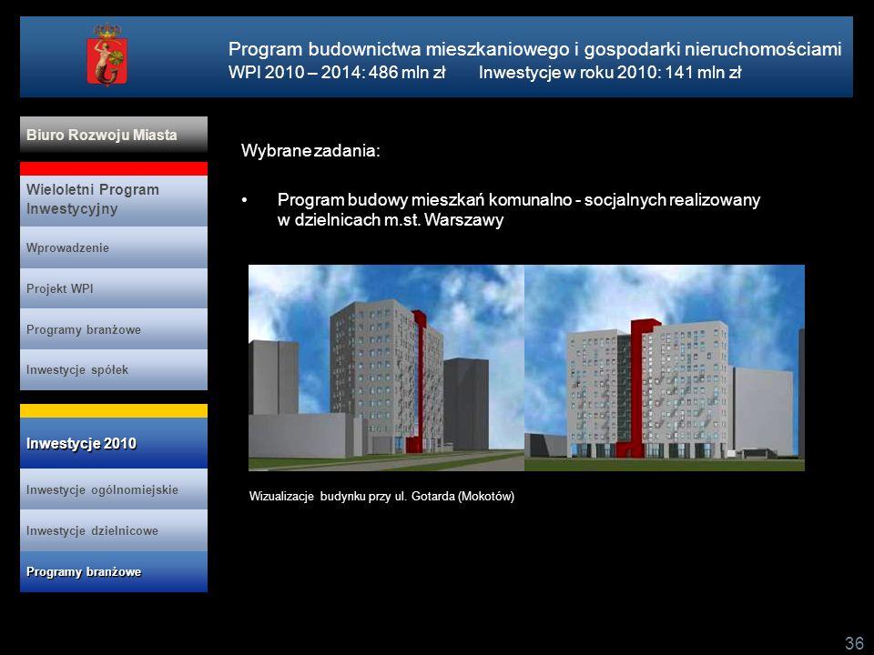 36 Wybrane zadania: Program budowy mieszkań komunalno - socjalnych realizowany w dzielnicach m.st. Warszawy Program budownictwa mieszkaniowego i gospo