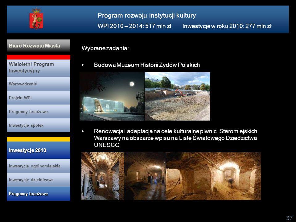 Program rozwoju instytucji kultury WPI 2010 – 2014: 517 mln zł Inwestycje w roku 2010: 277 mln zł 37 Wybrane zadania: Budowa Muzeum Historii Żydów Pol