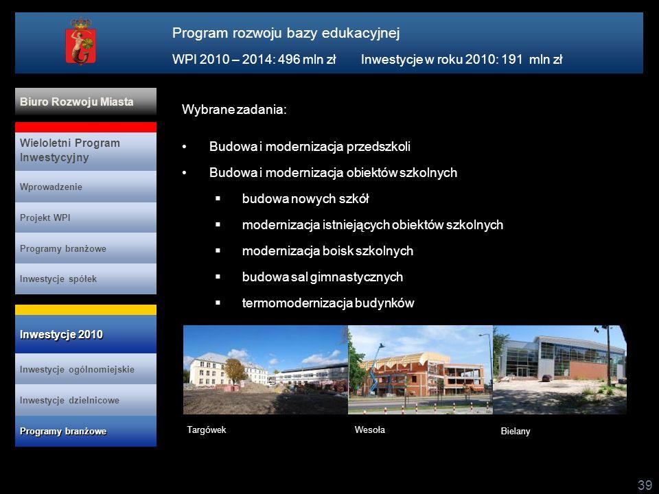 39 Wybrane zadania: Budowa i modernizacja przedszkoli Budowa i modernizacja obiektów szkolnych budowa nowych szkół modernizacja istniejących obiektów