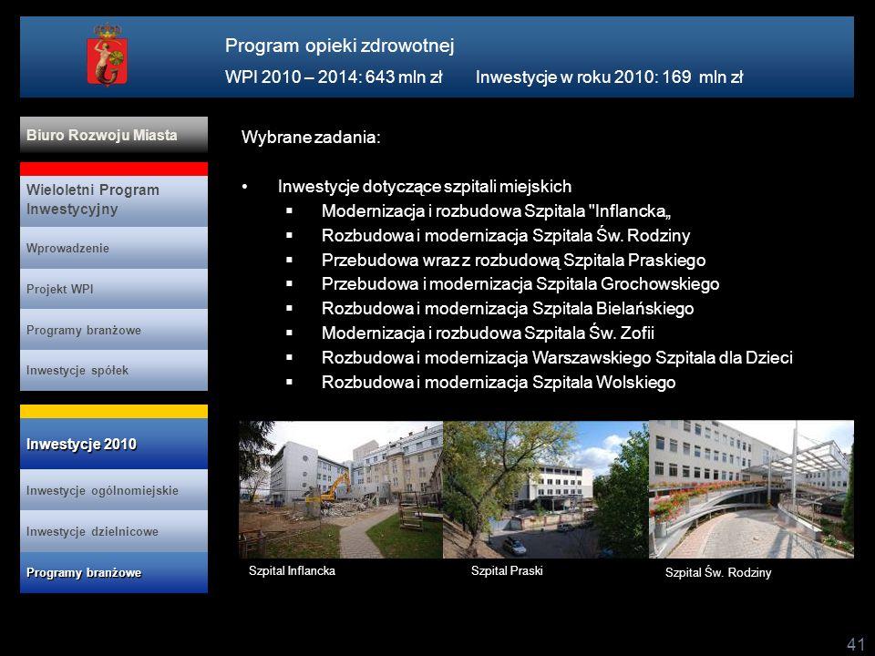 41 Wybrane zadania: Inwestycje dotyczące szpitali miejskich Modernizacja i rozbudowa Szpitala Inflancka Rozbudowa i modernizacja Szpitala Św.