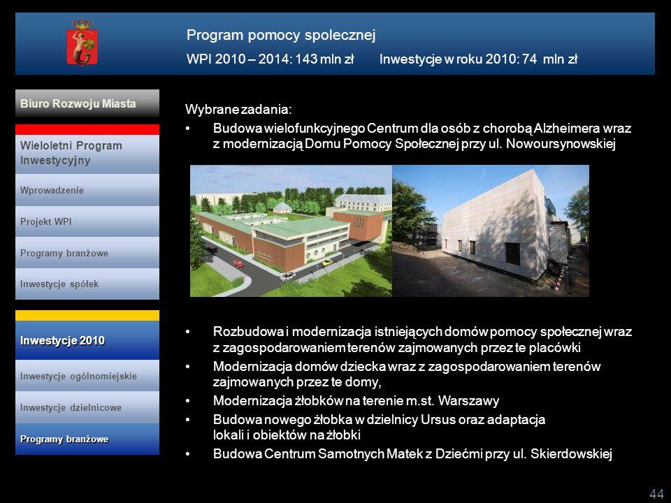 44 Projekt WPI Programy branżowe Inwestycje spółek Wieloletni Program Inwestycyjny Wprowadzenie Biuro Rozwoju Miasta Inwestycje ogólnomiejskie Program