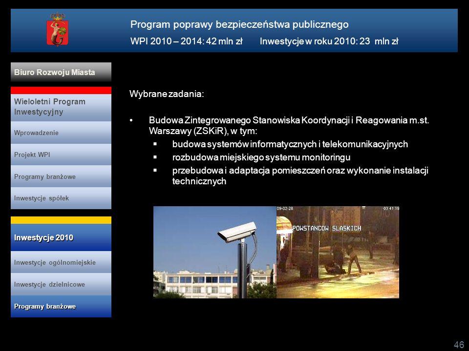 46 Wybrane zadania: Budowa Zintegrowanego Stanowiska Koordynacji i Reagowania m.st. Warszawy (ZSKiR), w tym: budowa systemów informatycznych i telekom