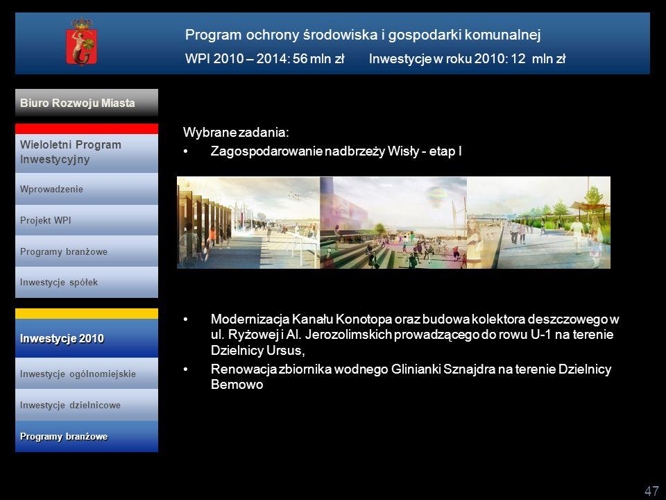 47 Wybrane zadania: Zagospodarowanie nadbrzeży Wisły - etap I Modernizacja Kanału Konotopa oraz budowa kolektora deszczowego w ul. Ryżowej i Al. Jeroz
