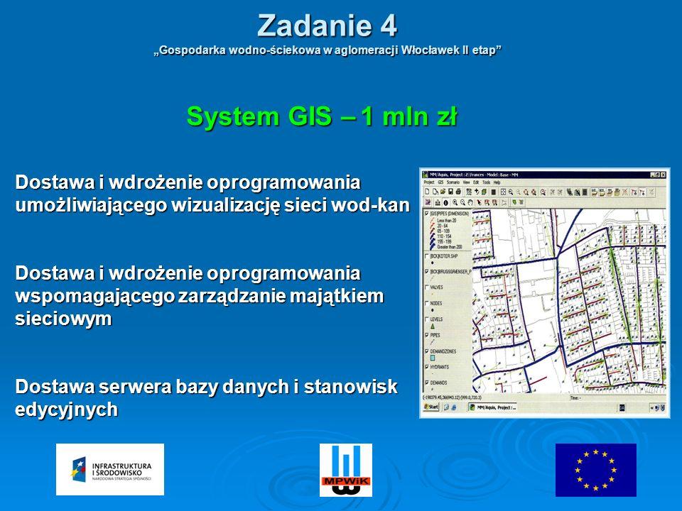 Dostawa i wdrożenie oprogramowania umożliwiającego wizualizację sieci wod-kan Dostawa i wdrożenie oprogramowania wspomagającego zarządzanie majątkiem sieciowym Dostawa serwera bazy danych i stanowisk edycyjnych System GIS – 1 mln zł Zadanie 4 Gospodarka wodno-ściekowa w aglomeracji Włocławek II etap