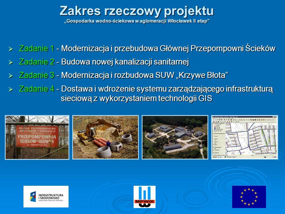 Zadanie 1 - Modernizacja i przebudowa Głównej Przepompowni Ścieków Zadanie 1 - Modernizacja i przebudowa Głównej Przepompowni Ścieków Zadanie 2 - Budowa nowej kanalizacji sanitarnej Zadanie 2 - Budowa nowej kanalizacji sanitarnej Zadanie 3 - Modernizacja i rozbudowa SUW Krzywe Błota Zadanie 3 - Modernizacja i rozbudowa SUW Krzywe Błota Zadanie 4 - Dostawa i wdrożenie systemu zarządzającego infrastrukturą sieciową z wykorzystaniem technologii GIS Zadanie 4 - Dostawa i wdrożenie systemu zarządzającego infrastrukturą sieciową z wykorzystaniem technologii GIS Zakres rzeczowy projektu Gospodarka wodno-ściekowa w aglomeracji Włocławek II etap