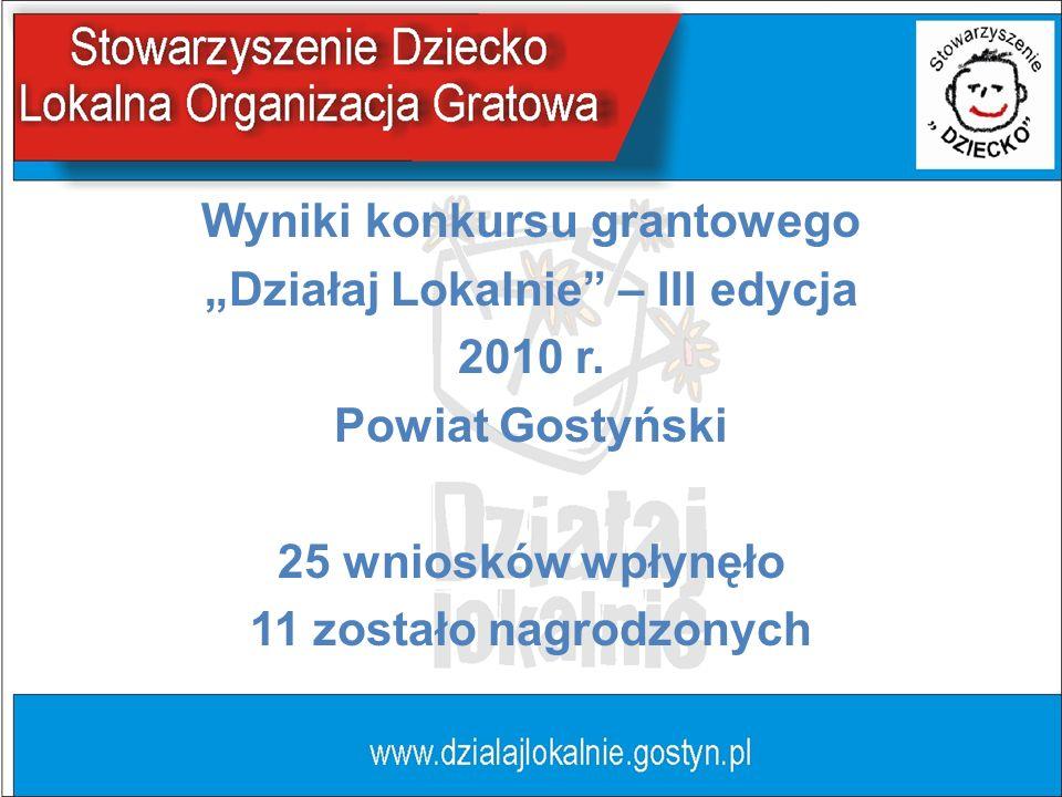 Wyniki konkursu grantowego Działaj Lokalnie – III edycja 2010 r.
