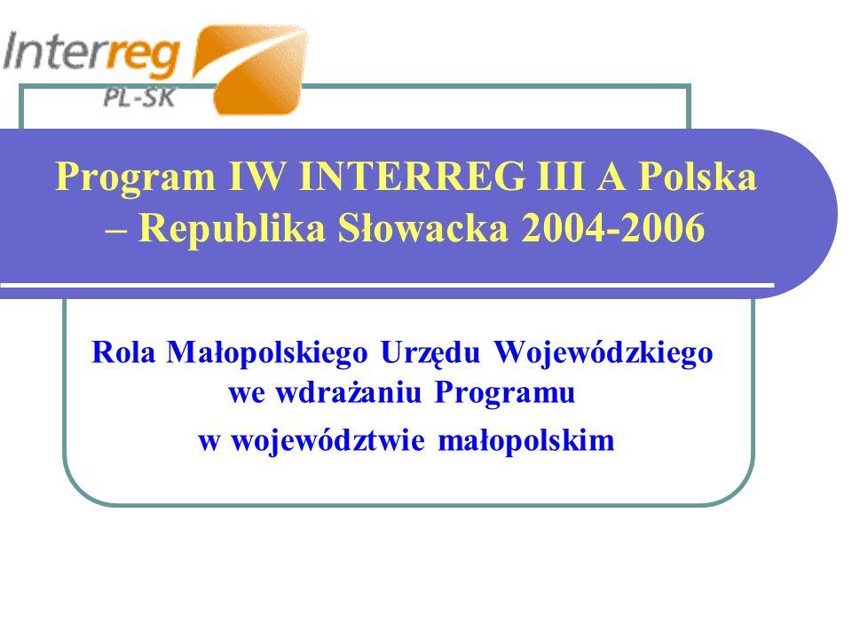 Program IW INTERREG III A Polska – Republika Słowacka 2004-2006 Rola Małopolskiego Urzędu Wojewódzkiego we wdrażaniu Programu w województwie małopolskim