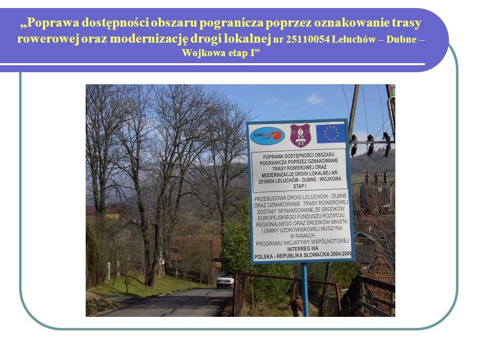 Poprawa dostępności obszaru pogranicza poprzez oznakowanie trasy rowerowej oraz modernizację drogi lokalnej nr 25110054 Leluchów – Dubne – Wojkowa etap I