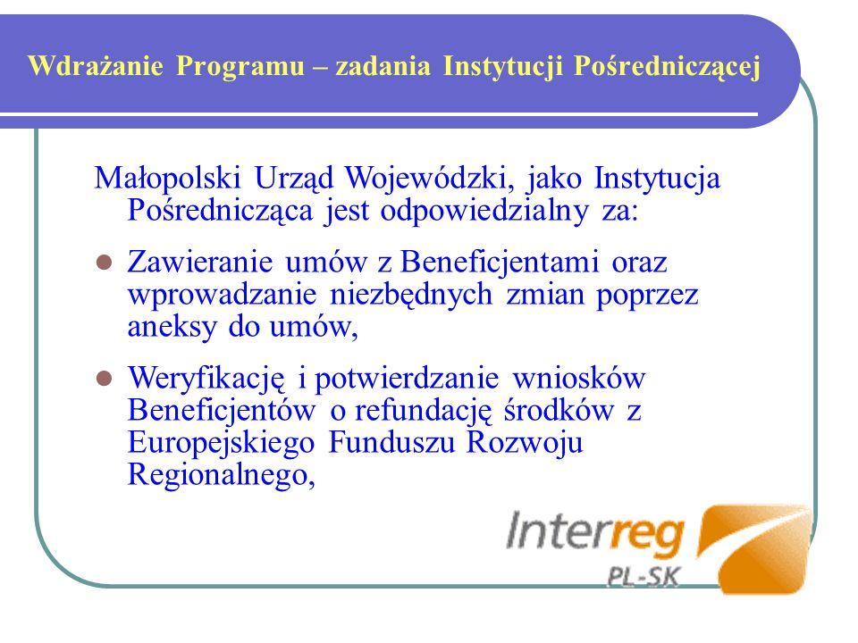 Wdrażanie Programu – zadania Instytucji Pośredniczącej Małopolski Urząd Wojewódzki, jako Instytucja Pośrednicząca jest odpowiedzialny za: Zawieranie umów z Beneficjentami oraz wprowadzanie niezbędnych zmian poprzez aneksy do umów, Weryfikację i potwierdzanie wniosków Beneficjentów o refundację środków z Europejskiego Funduszu Rozwoju Regionalnego,