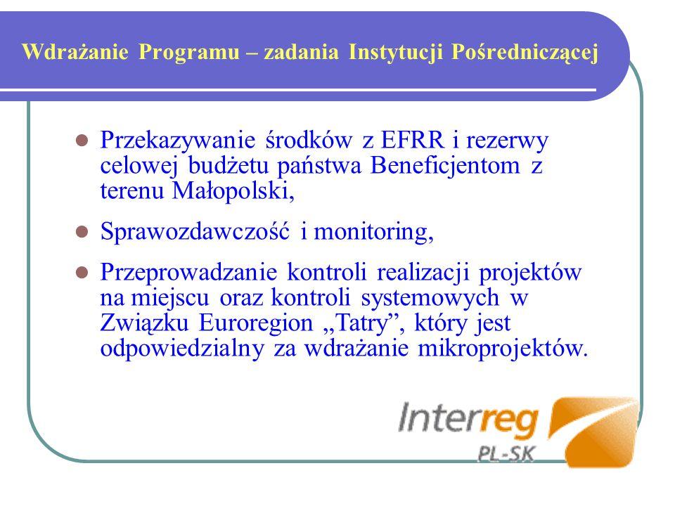 Wdrażanie Programu – zadania Instytucji Pośredniczącej Przekazywanie środków z EFRR i rezerwy celowej budżetu państwa Beneficjentom z terenu Małopolski, Sprawozdawczość i monitoring, Przeprowadzanie kontroli realizacji projektów na miejscu oraz kontroli systemowych w Związku Euroregion Tatry, który jest odpowiedzialny za wdrażanie mikroprojektów.