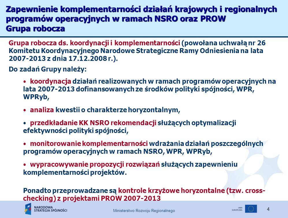 Ministerstwo Rozwoju Regionalnego 4 Zapewnienie komplementarności działań krajowych i regionalnych programów operacyjnych w ramach NSRO oraz PROW Grupa robocza Grupa robocza ds.