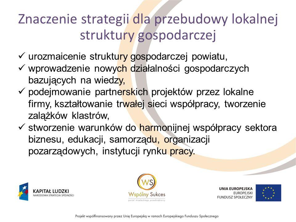 Znaczenie strategii dla przebudowy lokalnej struktury gospodarczej urozmaicenie struktury gospodarczej powiatu, wprowadzenie nowych działalności gospodarczych bazujących na wiedzy, podejmowanie partnerskich projektów przez lokalne firmy, kształtowanie trwałej sieci współpracy, tworzenie zalążków klastrów, stworzenie warunków do harmonijnej współpracy sektora biznesu, edukacji, samorządu, organizacji pozarządowych, instytucji rynku pracy.