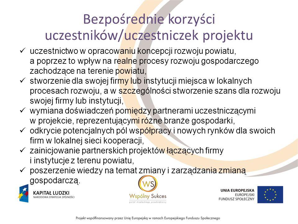 Bezpośrednie korzyści uczestników/uczestniczek projektu uczestnictwo w opracowaniu koncepcji rozwoju powiatu, a poprzez to wpływ na realne procesy roz