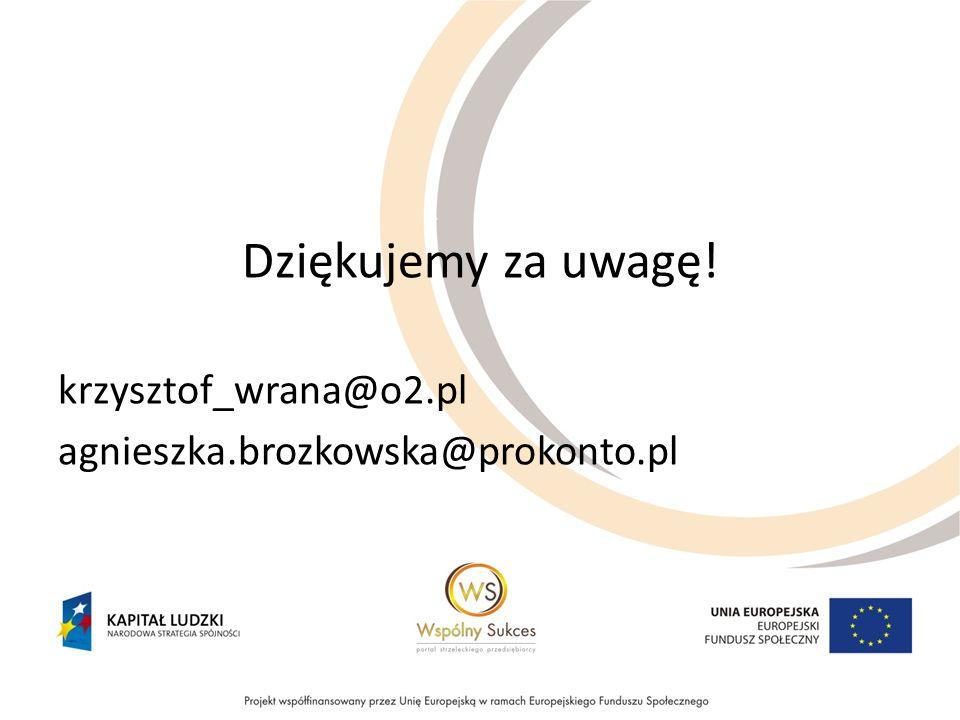 Dziękujemy za uwagę! krzysztof_wrana@o2.pl agnieszka.brozkowska@prokonto.pl