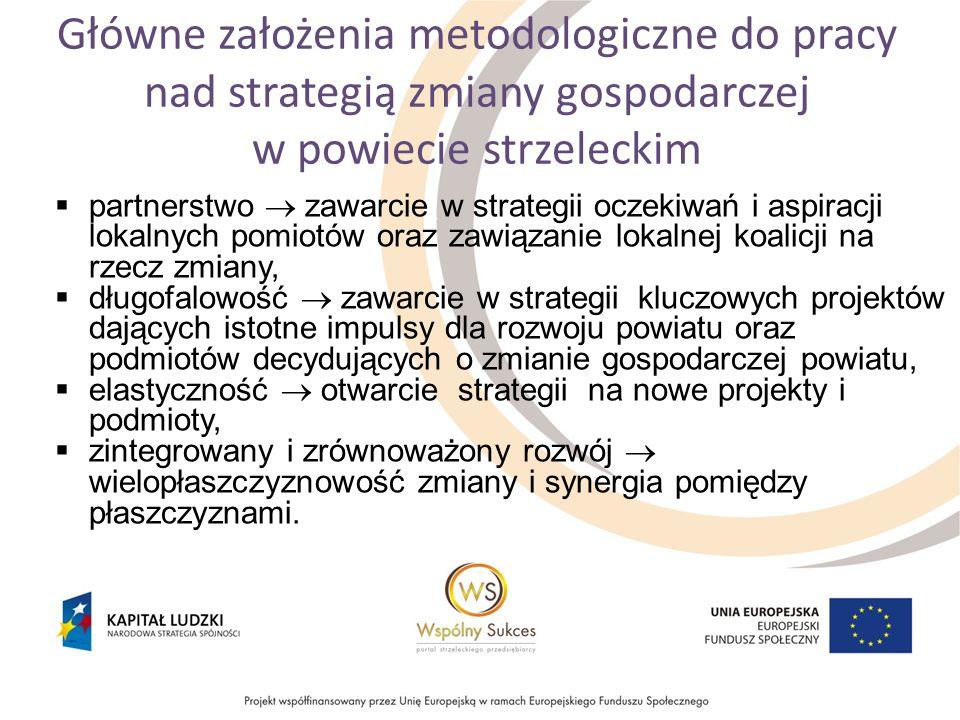 Główne założenia metodologiczne do pracy nad strategią zmiany gospodarczej w powiecie strzeleckim partnerstwo zawarcie w strategii oczekiwań i aspiracji lokalnych pomiotów oraz zawiązanie lokalnej koalicji na rzecz zmiany, długofalowość zawarcie w strategii kluczowych projektów dających istotne impulsy dla rozwoju powiatu oraz podmiotów decydujących o zmianie gospodarczej powiatu, elastyczność otwarcie strategii na nowe projekty i podmioty, zintegrowany i zrównoważony rozwój wielopłaszczyznowość zmiany i synergia pomiędzy płaszczyznami.