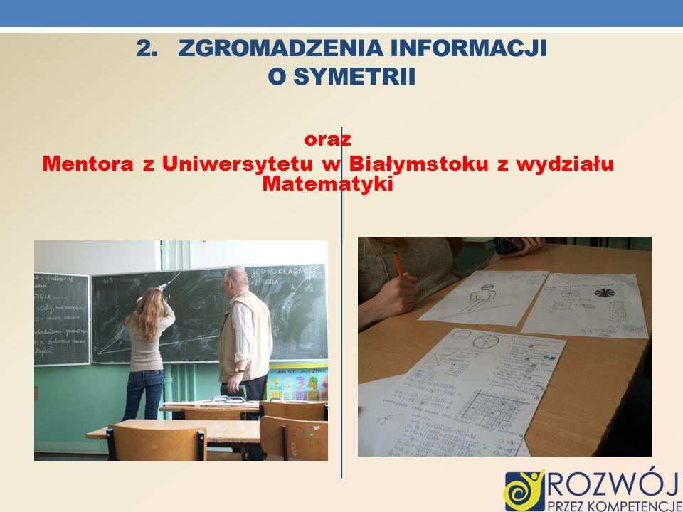 2. ZGROMADZENIA INFORMACJI O SYMETRII oraz Mentora z Uniwersytetu w Białymstoku z wydziału Matematyki