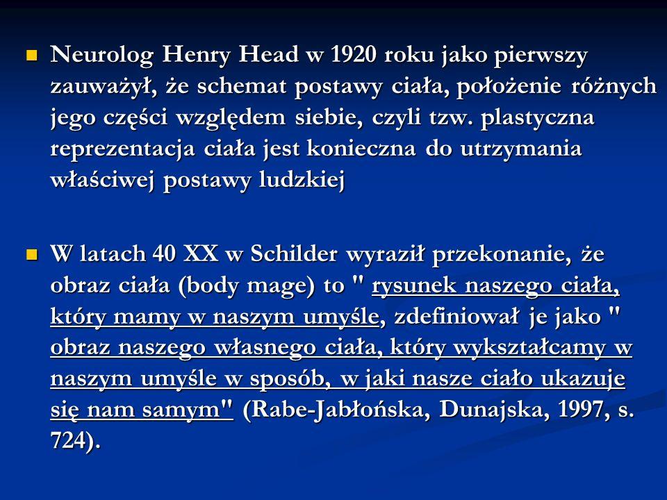 Neurolog Henry Head w 1920 roku jako pierwszy zauważył, że schemat postawy ciała, położenie różnych jego części względem siebie, czyli tzw. plastyczna