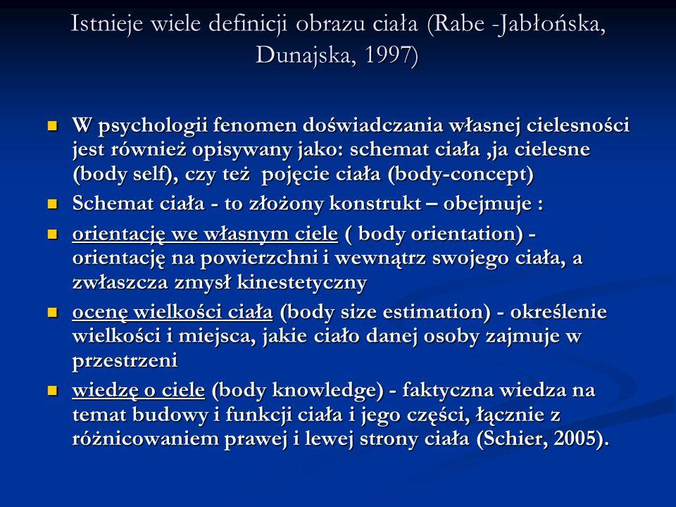 Na bazie pierwotnego schematu ciała rozwija się ja cielesne - struktura psychiczna, która stanowi integralna część organizacji self danej osoby - pozwala oddzielić ja od nie- ja (Schier, 2005) Na bazie pierwotnego schematu ciała rozwija się ja cielesne - struktura psychiczna, która stanowi integralna część organizacji self danej osoby - pozwala oddzielić ja od nie- ja (Schier, 2005) Ja cielesne kształtuje się głównie w oparciu o społeczny wzorzec cielesności niż o wrażenia proprioceptywne.