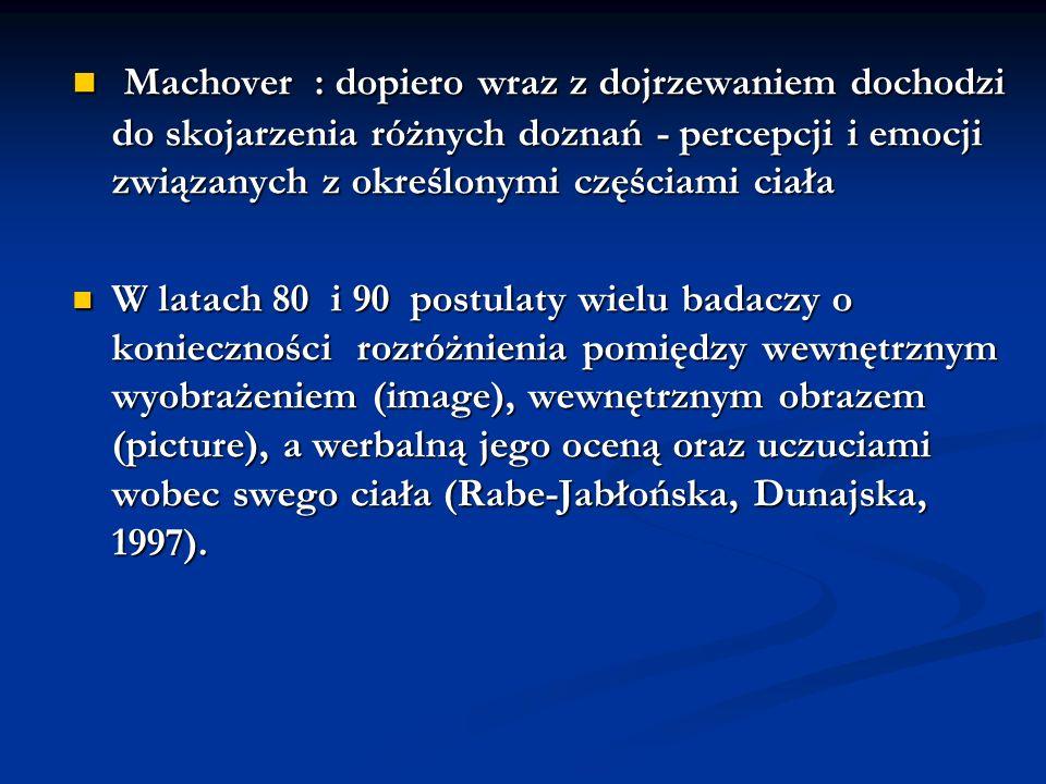Machover : dopiero wraz z dojrzewaniem dochodzi do skojarzenia różnych doznań - percepcji i emocji związanych z określonymi częściami ciała Machover :