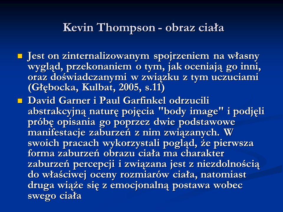 Kevin Thompson - obraz ciała Kevin Thompson - obraz ciała Jest on zinternalizowanym spojrzeniem na własny wygląd, przekonaniem o tym, jak oceniają go