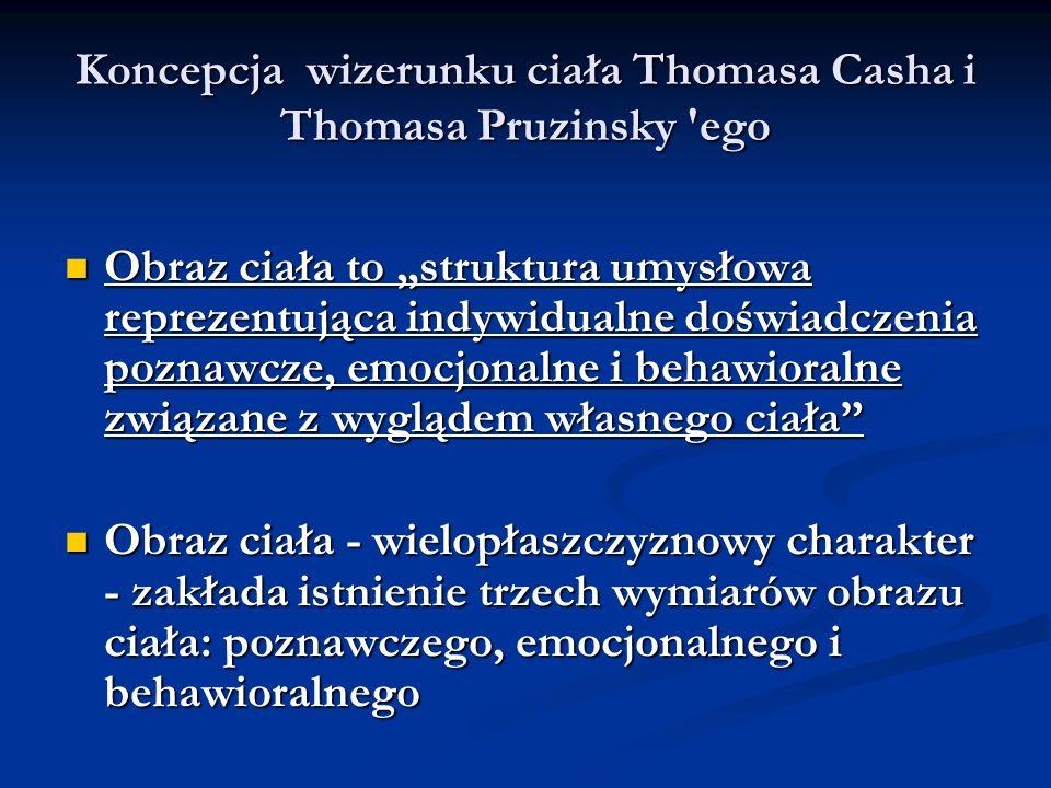 Koncepcja wizerunku ciała Thomasa Casha i Thomasa Pruzinsky 'ego Obraz ciała to struktura umysłowa reprezentująca indywidualne doświadczenia poznawcze