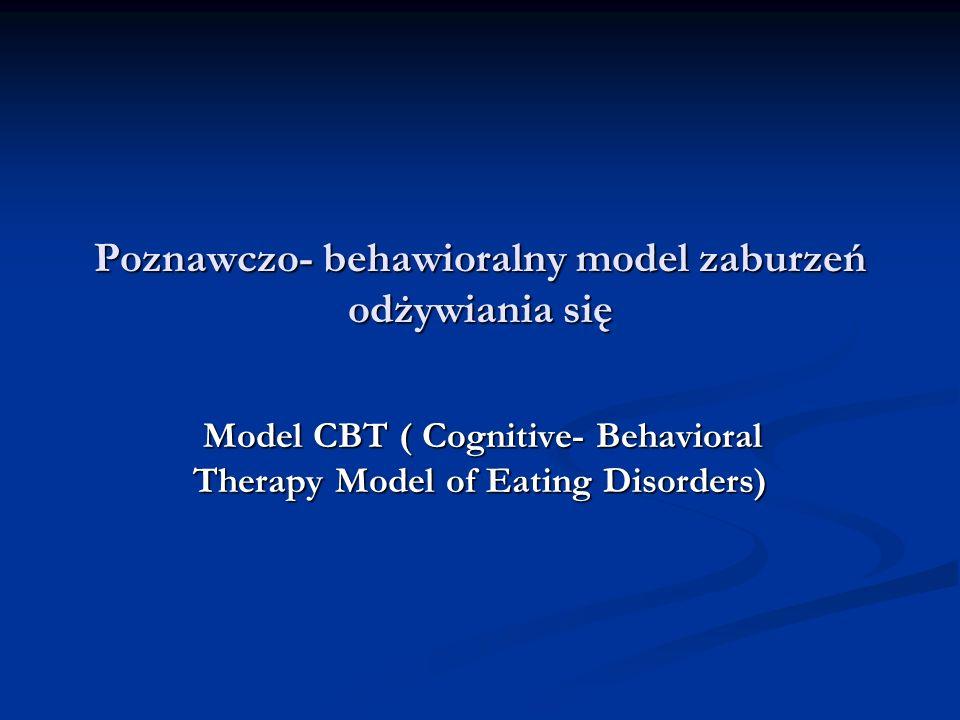 Poznawczo- behawioralny model zaburzeń odżywiania się Model CBT ( Cognitive- Behavioral Therapy Model of Eating Disorders) Model CBT ( Cognitive- Beha