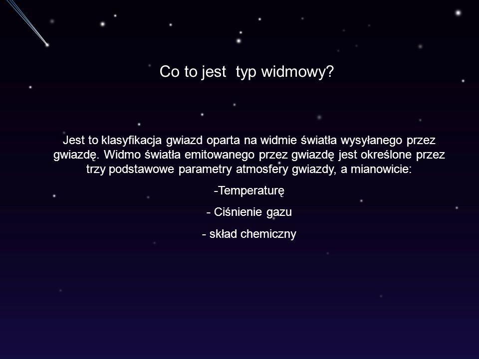 Co to jest typ widmowy? Jest to klasyfikacja gwiazd oparta na widmie światła wysyłanego przez gwiazdę. Widmo światła emitowanego przez gwiazdę jest ok