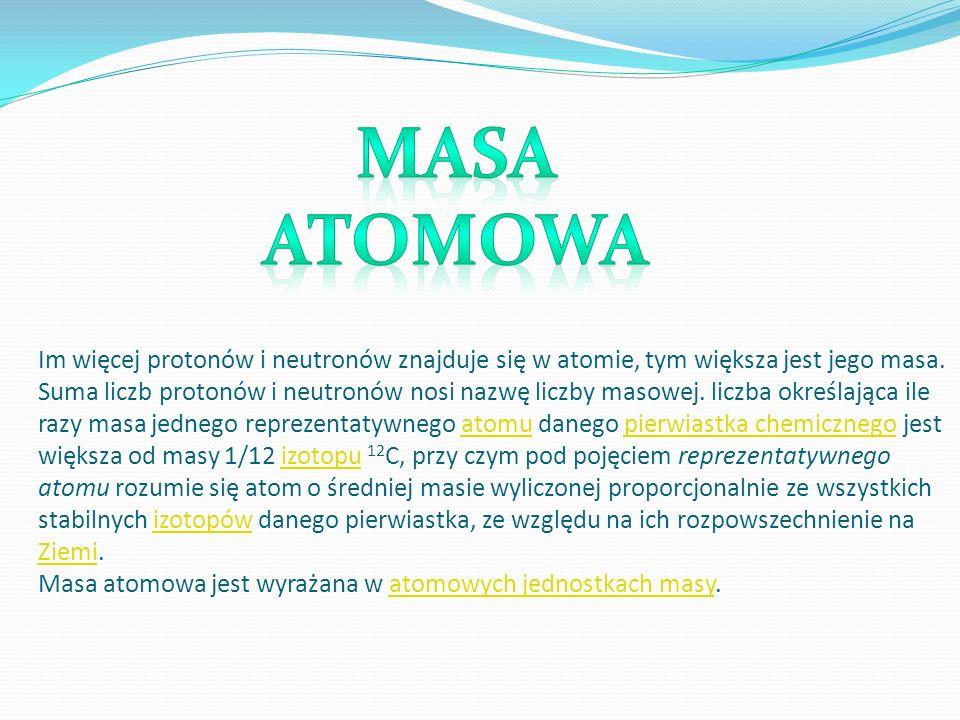 Im więcej protonów i neutronów znajduje się w atomie, tym większa jest jego masa. Suma liczb protonów i neutronów nosi nazwę liczby masowej. liczba ok