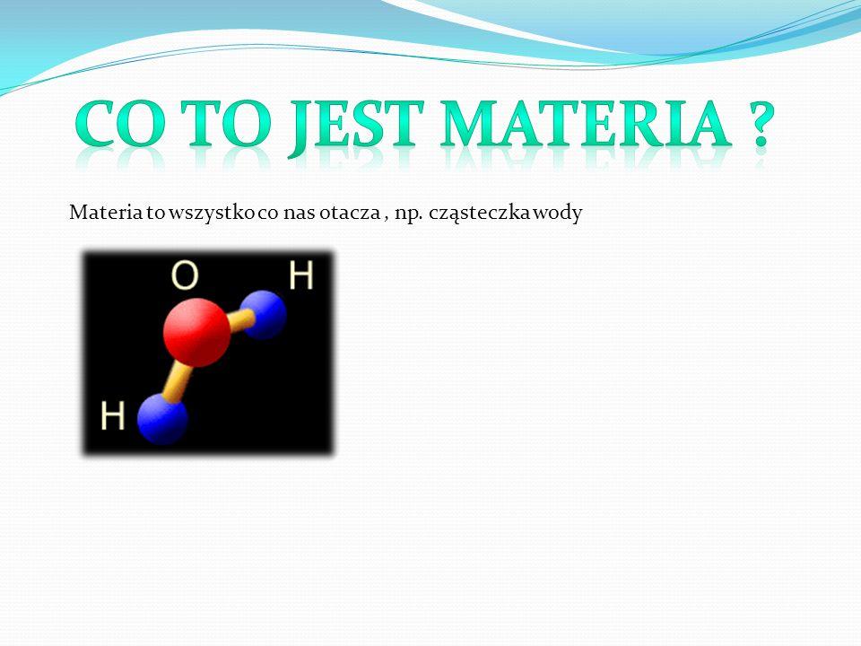 Materia to wszystko co nas otacza, np. cząsteczka wody