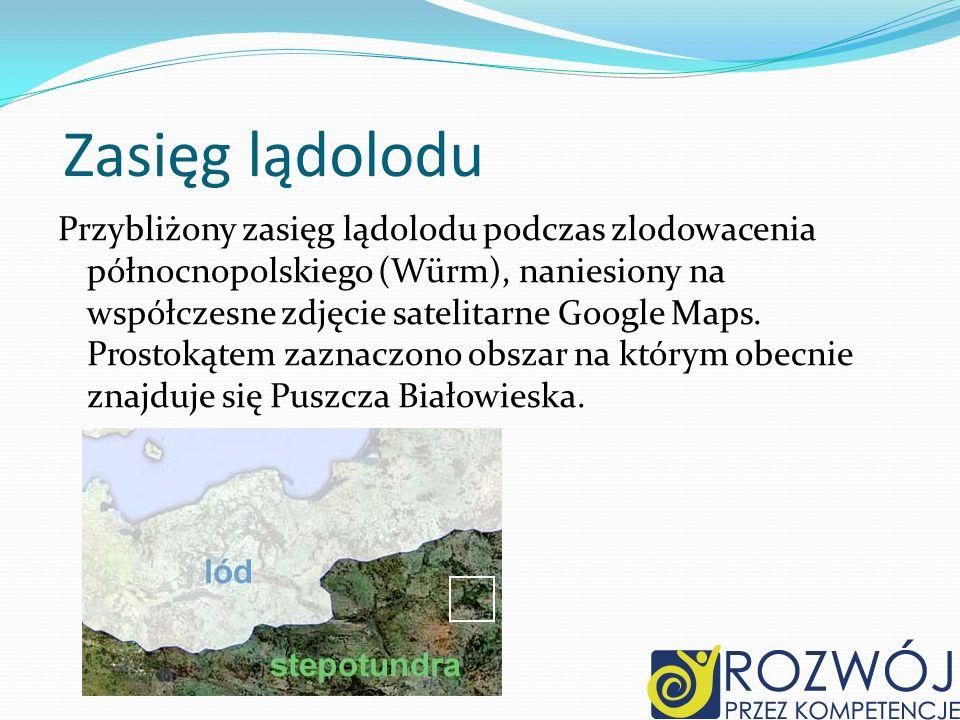 Zasięg lądolodu Przybliżony zasięg lądolodu podczas zlodowacenia północnopolskiego (Würm), naniesiony na współczesne zdjęcie satelitarne Google Maps.