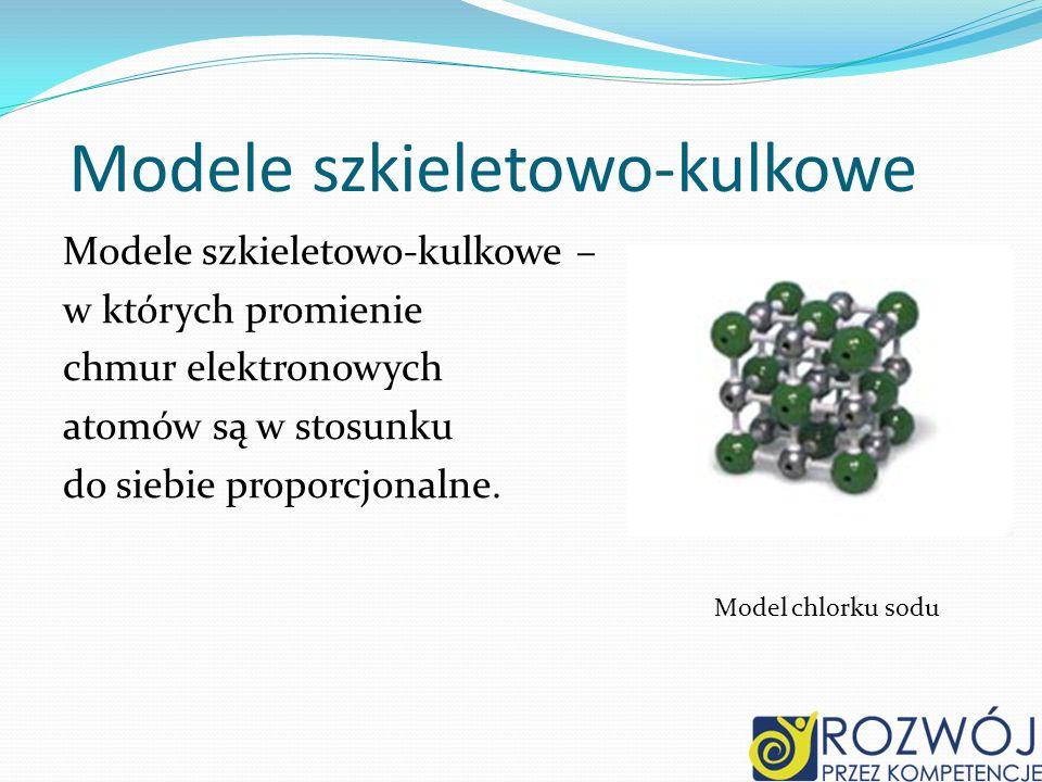 Modele szkieletowo-kulkowe Modele szkieletowo-kulkowe – w których promienie chmur elektronowych atomów są w stosunku do siebie proporcjonalne. Model c