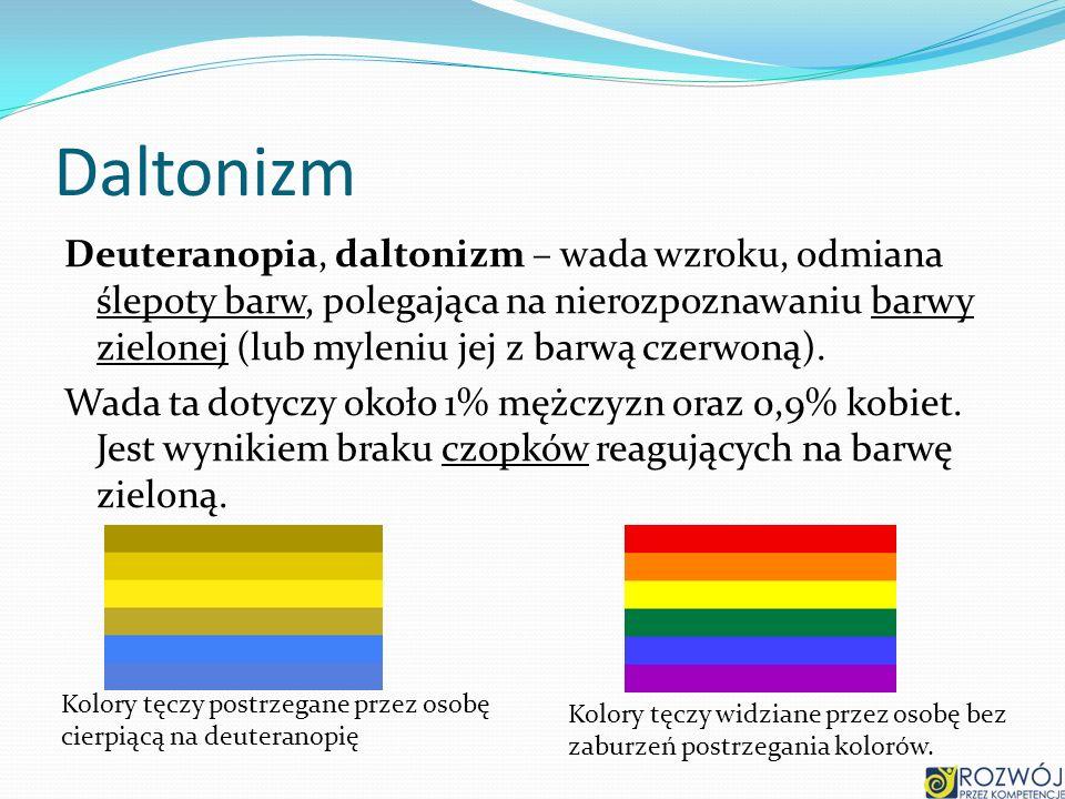 Daltonizm Deuteranopia, daltonizm – wada wzroku, odmiana ślepoty barw, polegająca na nierozpoznawaniu barwy zielonej (lub myleniu jej z barwą czerwoną