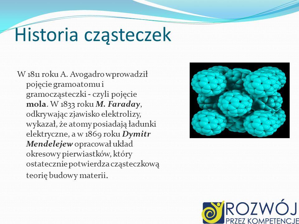 Historia cząsteczek W 1811 roku A. Avogadro wprowadził pojęcie gramoatomu i gramocząsteczki - czyli pojęcie mola. W 1833 roku M. Faraday, odkrywając z