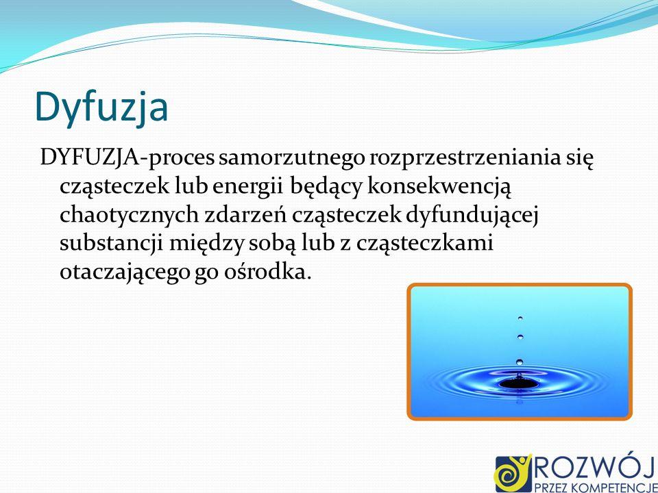Dyfuzja DYFUZJA-proces samorzutnego rozprzestrzeniania się cząsteczek lub energii będący konsekwencją chaotycznych zdarzeń cząsteczek dyfundującej sub